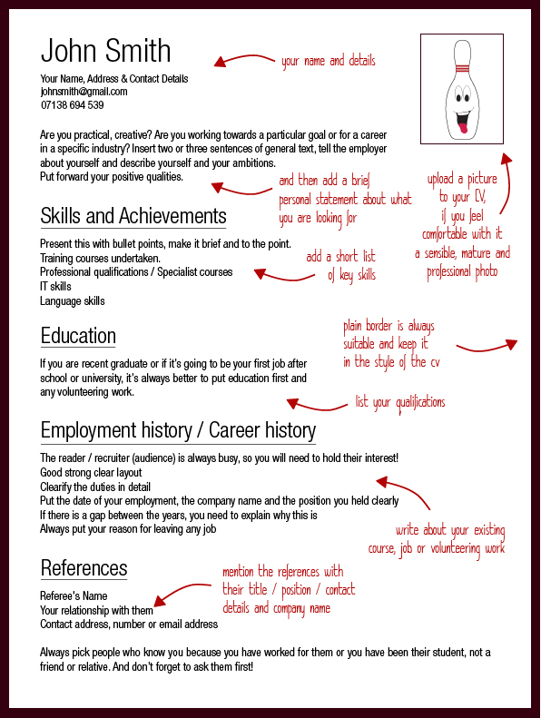 Cv Template  StrikeJobsCoUk