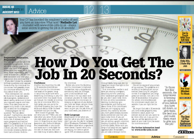 Article about how do you get the job in 20 seconds